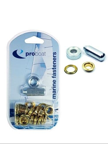 """Marine Brass Eyelet Kit 3/8"""" 9.5mm  (25) and 1/2"""" 12.7mm (15) Covers Tents Tarpaulines"""
