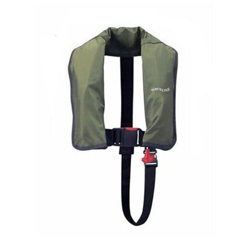 Waveline Angling 165N ISO Lifejacket Olive Fishermans life Jacket Automatic