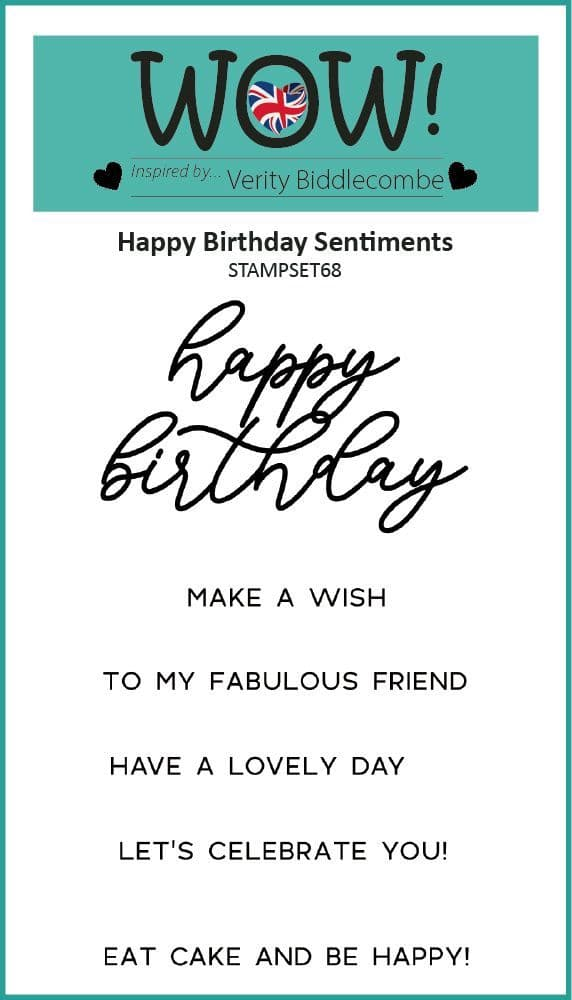 Happy Birthday Sentiments (by Verity Biddlecombe) - Clear Stamp Set (A7)