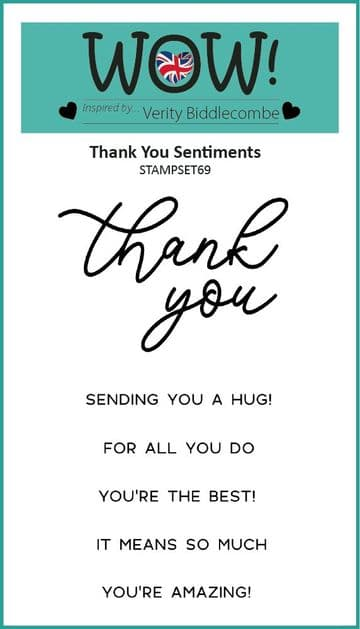 Thank You Sentiments (by Verity Biddlecombe) - Clear Stamp Set (A7)
