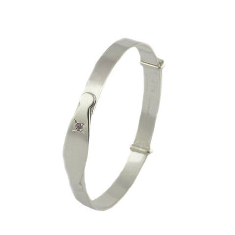 Engravable  Silver Child's Plain Bangle with CZ Pink Stone