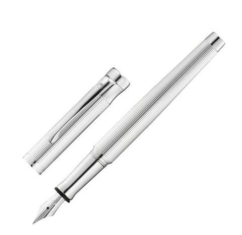 Hallmarked Sterling Silver Waldmann Fountain Pen - Tango - Fine Line Pattern