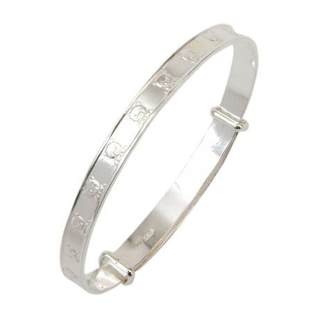 Sterling Silver Childrens Christening Bangle with Teddy Head Design