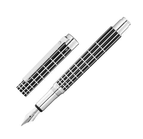 Sterling Silver Waldmann Fountain Pen - Xetra - Black Lacquer