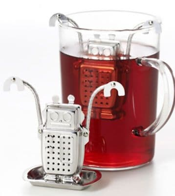 Drowning Robot  Novelty 1 Cup Tea Infuser + Stand S/S