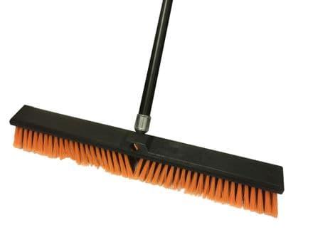 "Broom 24"" Plastic Yellow with handle"